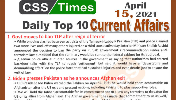 Daily Top-10 Current Affairs MCQs / News (April 15, 2021) for CSS, PMS
