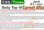 Daily Top-10 Current Affairs MCQs / News (April 21, 2021) for CSS, PMS