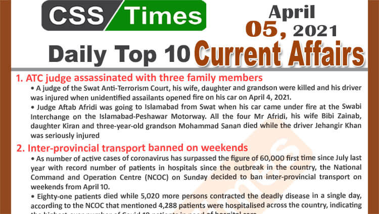 Daily Top-10 Current Affairs MCQs / News (April 05, 2021) for CSS, PMS