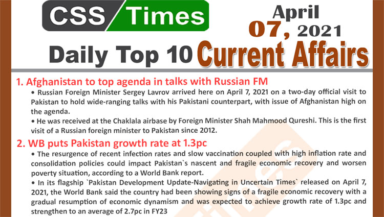 Daily Top-10 Current Affairs MCQs / News (April 07, 2021) for CSS, PMS