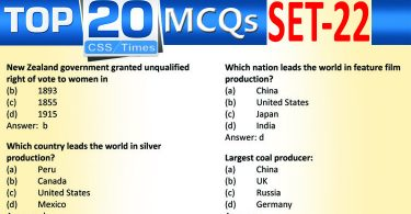 Daily Top-20 MCQs for CSS, PMS, PCS, FPSC (Set-22)