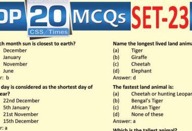 Daily Top-20 MCQs for CSS, PMS, PCS, FPSC (Set-23)