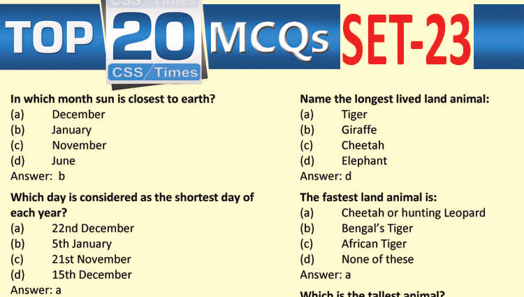 Daily Top-20 MCQs for CSS, PMS, PCS, FPSC (Set-23)