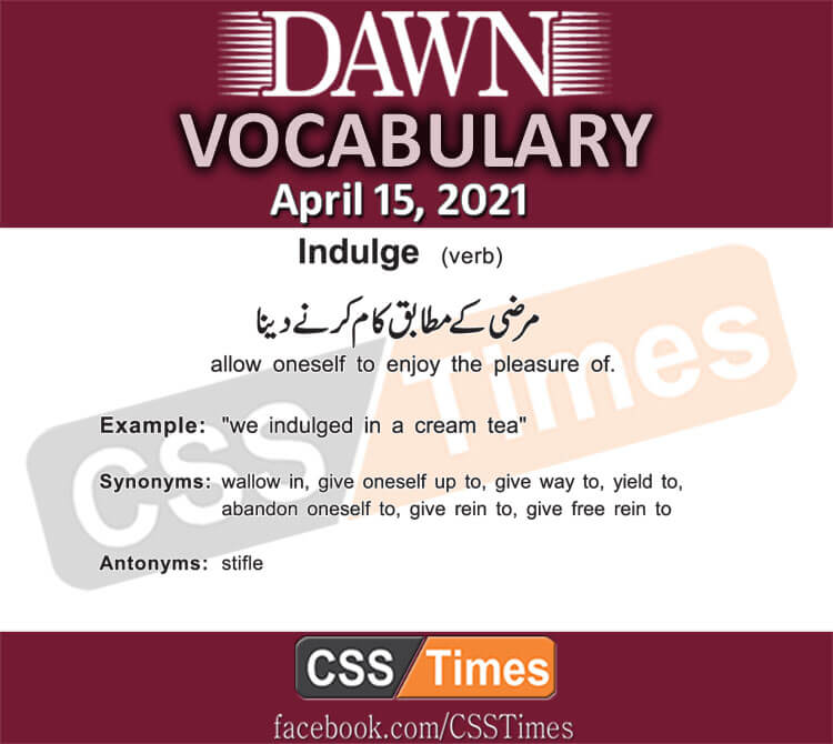 Daily DAWN News Vocabulary with Urdu Meaning (15 April 2021)