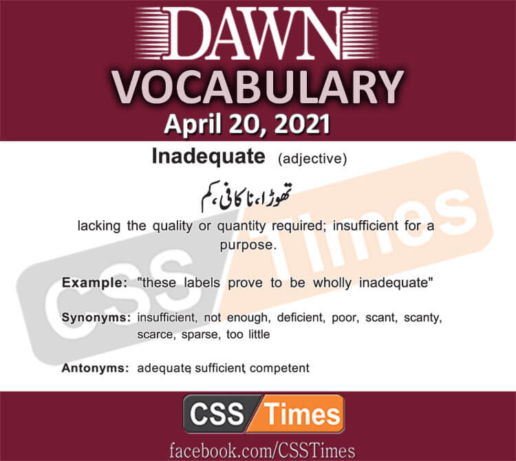 Daily DAWN News Vocabulary with Urdu Meaning (20 April 2021)