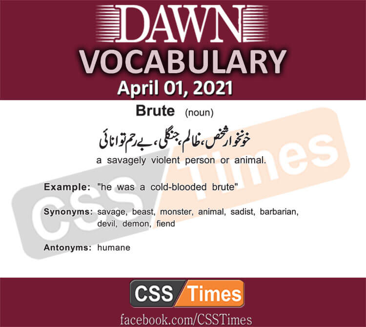 Daily DAWN News Vocabulary with Urdu Meaning (01 April 2021)