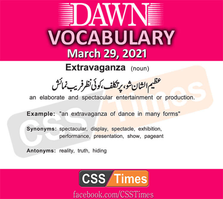 Daily DAWN News Vocabulary with Urdu Meaning (29 March 2021)