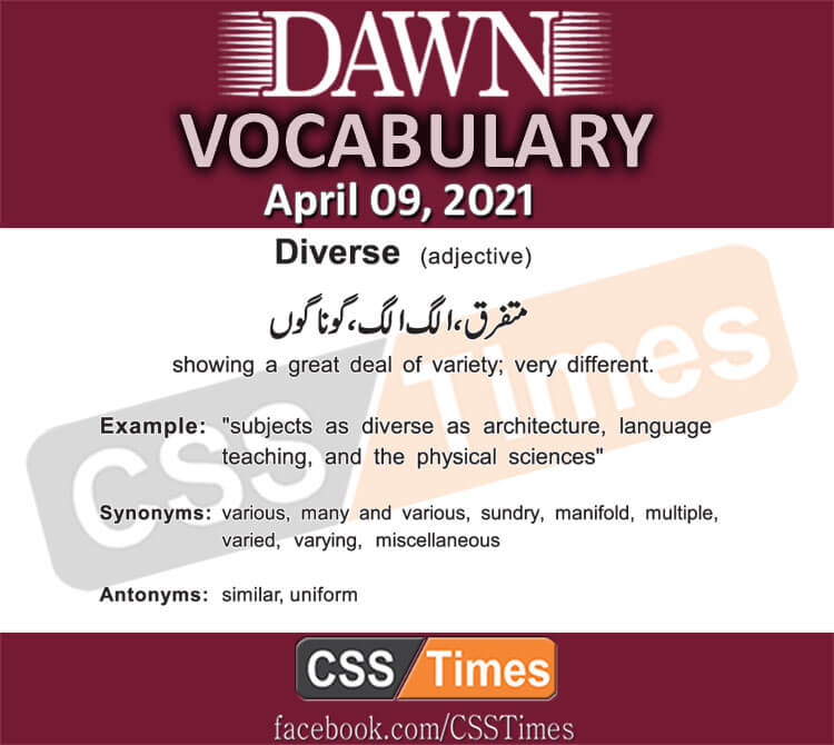 Daily DAWN News Vocabulary with Urdu Meaning (09 April 2021)