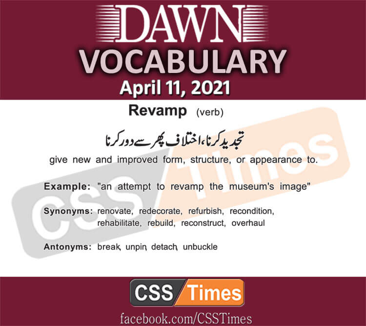 Daily DAWN News Vocabulary with Urdu Meaning (11 April 2021)