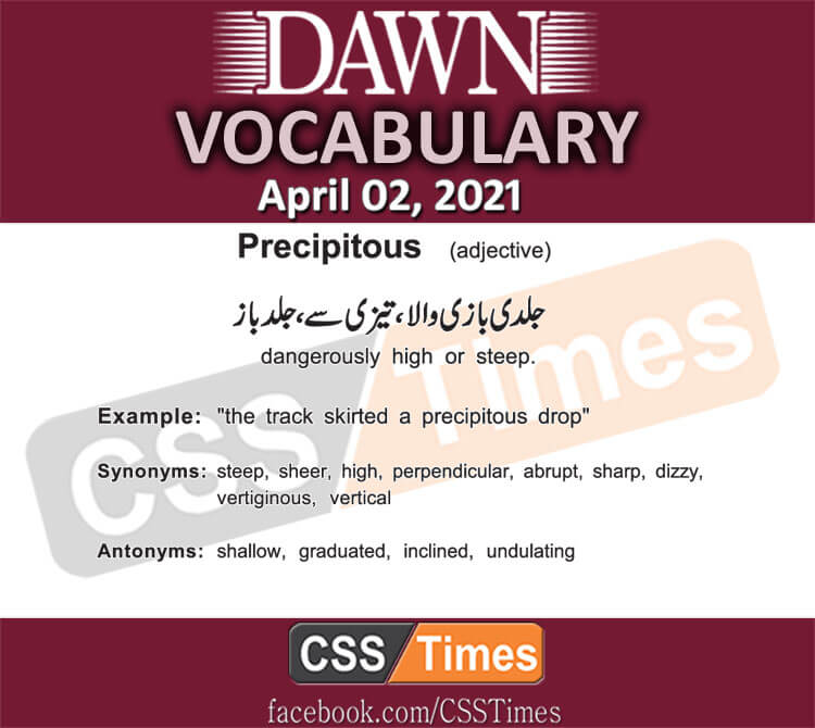 Daily DAWN News Vocabulary with Urdu Meaning (02 April 2021)