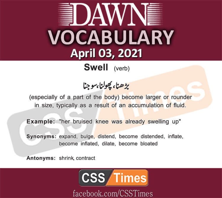 Daily DAWN News Vocabulary with Urdu Meaning (03 April 2021)