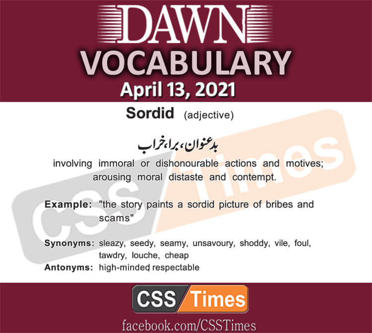 Daily DAWN News Vocabulary with Urdu Meaning (13 April 2021)