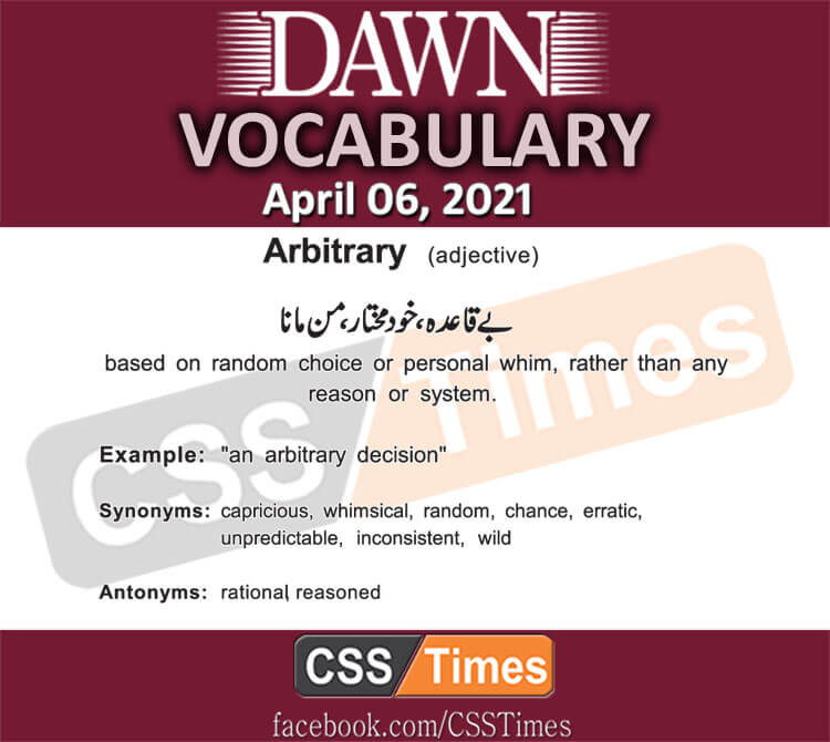 Daily DAWN News Vocabulary with Urdu Meaning (06 April 2021)