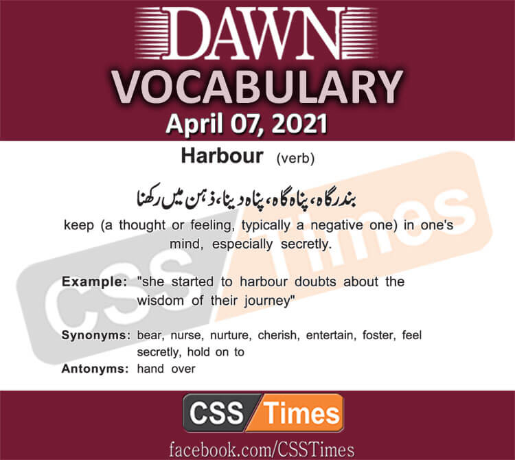 Daily DAWN News Vocabulary with Urdu Meaning (07 April 2021)