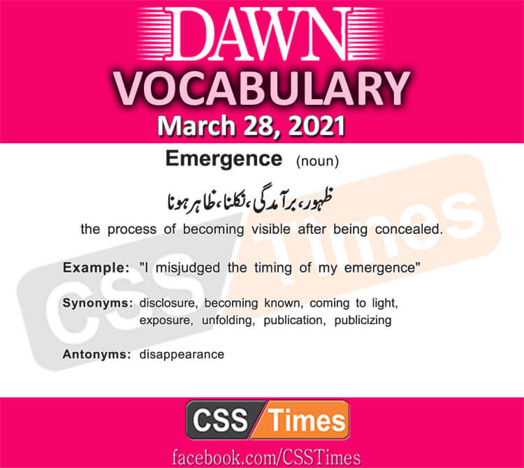 Daily DAWN News Vocabulary with Urdu Meaning (28 March 2021)