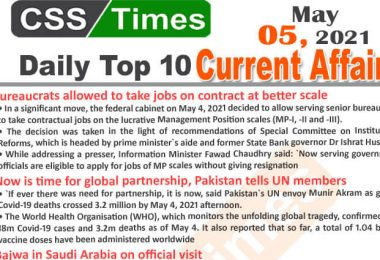 Daily Top-10 Current Affairs MCQs / News (May 05, 2021) for CSS, PMS