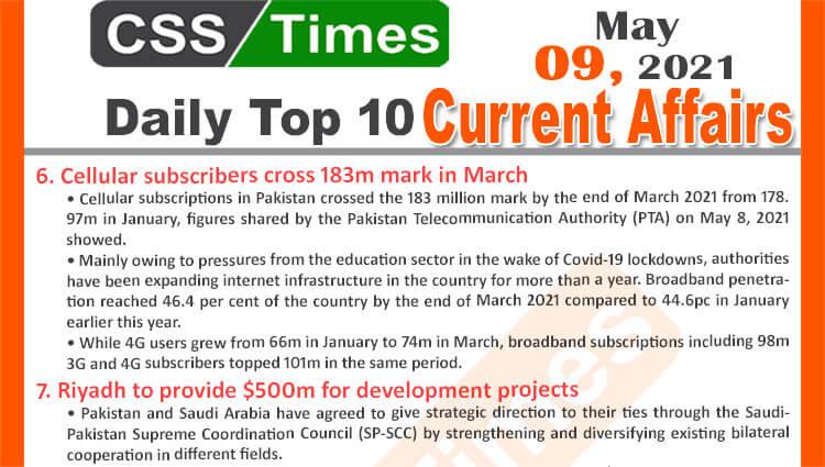Daily Top-10 Current Affairs MCQs / News (May 07, 2021) for CSS, PMS
