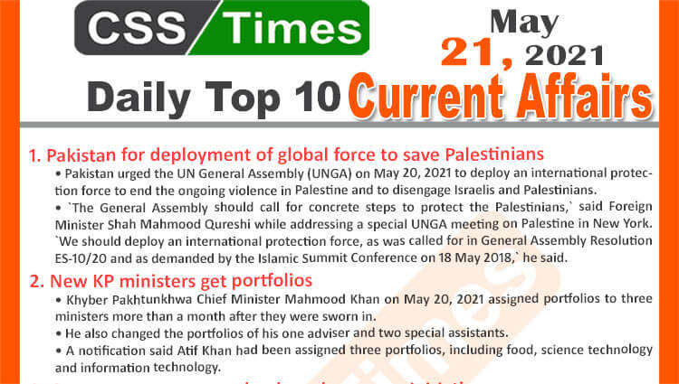 Daily Top-10 Current Affairs MCQs / News (May 21, 2021) for CSS, PMS