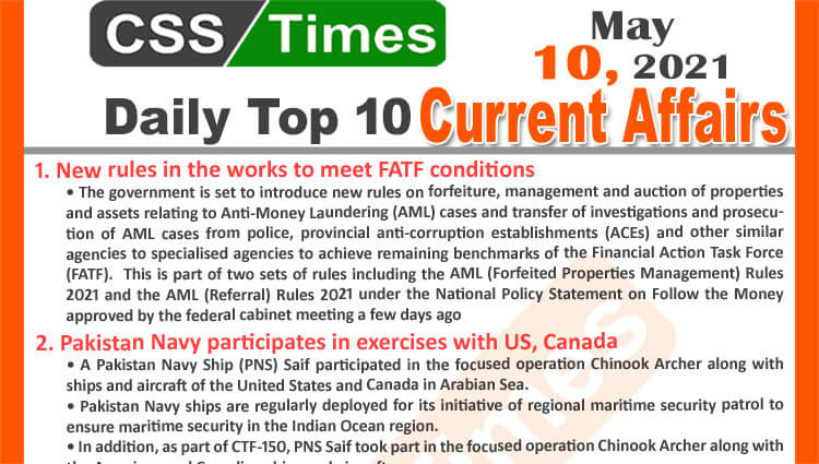 Daily Top-10 Current Affairs MCQs / News (May 10, 2021) for CSS, PMS