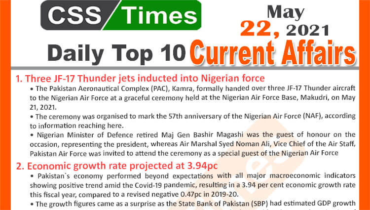 Daily Top-10 Current Affairs MCQs / News (May 22, 2021) for CSS, PMS