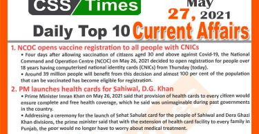 Daily Top-10 Current Affairs MCQs / News (May 27, 2021) for CSS, PMS