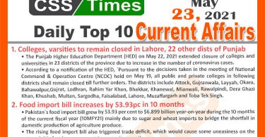 Daily Top-10 Current Affairs MCQs / News (May 23, 2021) for CSS, PMS