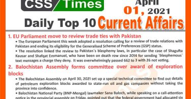 Daily Top-10 Current Affairs MCQs / News (May 01, 2021) for CSS, PMS