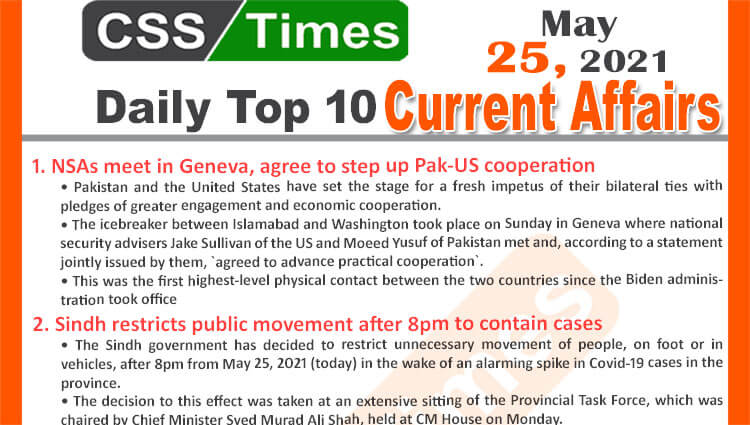 Daily Top-10 Current Affairs MCQs / News (May 25, 2021) for CSS, PMS