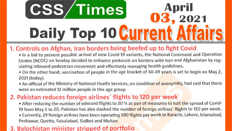 Daily Top-10 Current Affairs MCQs / News (May 03, 2021) for CSS, PMS