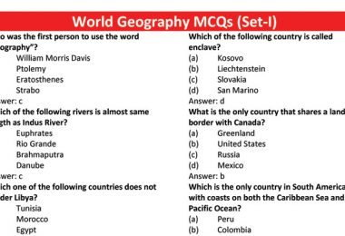 World Geography MCQs (Set-I)