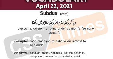 Daily DAWN News Vocabulary with Urdu Meaning (22 April 2021)