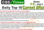 Daily Top-10 Current Affairs MCQs / News (June 13, 2021) for CSS, PMS