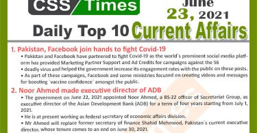 Daily Top-10 Current Affairs MCQs / News (June 23, 2021) for CSS, PMS