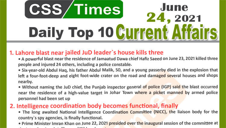 Daily Top-10 Current Affairs MCQs / News (June 24, 2021) for CSS, PMS