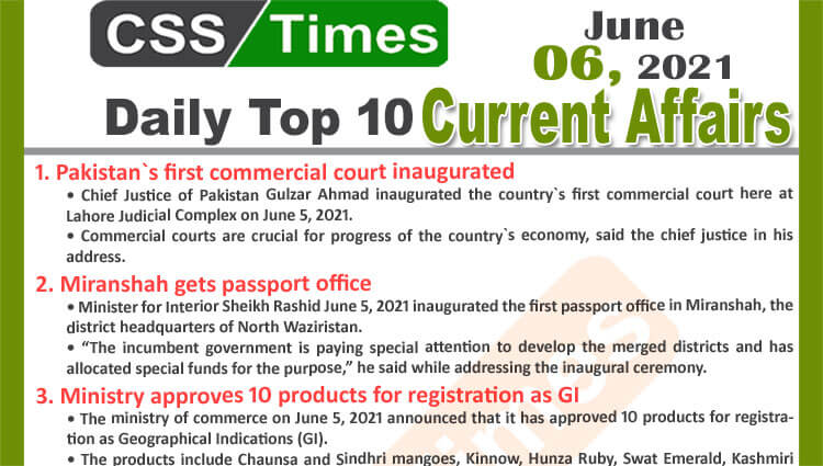 Daily Top-10 Current Affairs MCQs / News (June 06, 2021) for CSS, PMS