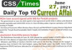 Daily Top-10 Current Affairs MCQs / News (June 27, 2021) for CSS, PMS