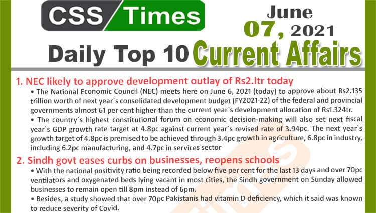 Daily Top-10 Current Affairs MCQs / News (June 07, 2021) for CSS, PMS