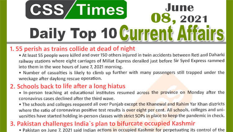 Daily Top-10 Current Affairs MCQs / News (June 08, 2021) for CSS, PMS