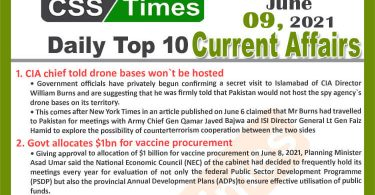 Daily Top-10 Current Affairs MCQs / News (June 09, 2021) for CSS, PMS