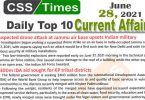 Daily Top-10 Current Affairs MCQs / News (June 28, 2021) for CSS, PMS