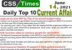 Daily Top-10 Current Affairs MCQs / News (June 14, 2021) for CSS, PMS