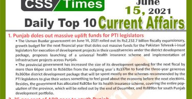 Daily Top-10 Current Affairs MCQs / News (June 15, 2021) for CSS, PMS