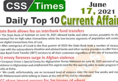 Daily Top-10 Current Affairs MCQs / News (June 16, 2021) for CSS, PMS