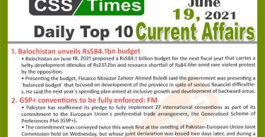 Daily Top-10 Current Affairs MCQs / News (June 19, 2021) for CSS, PMS