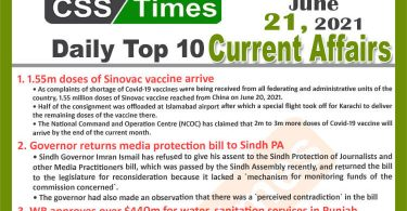 Daily Top-10 Current Affairs MCQs / News (June 21, 2021) for CSS, PMS
