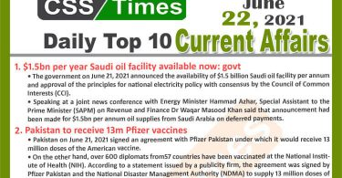 Daily Top-10 Current Affairs MCQs / News (June 22, 2021) for CSS, PMS