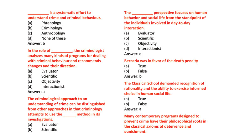 Introduction to Criminology MCQs for CSS (Set-II)