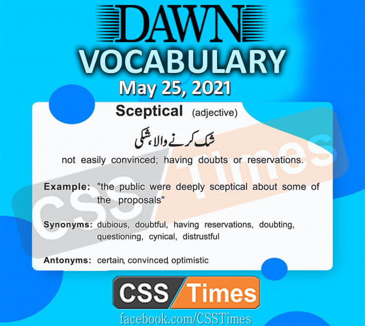 Daily DAWN News Vocabulary with Urdu Meaning (25 May 2021)