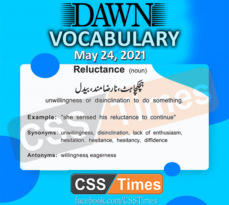 Daily DAWN News Vocabulary with Urdu Meaning (24 May 2021)