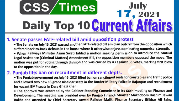 Daily Top-10 Current Affairs MCQs / News (July 17, 2021) for CSS, PMS